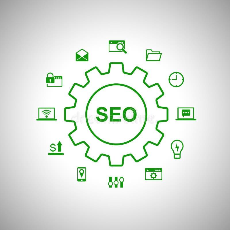 Affiche conceptuelle de mot de SEO avec beaucoup d'icônes de Web illustration libre de droits