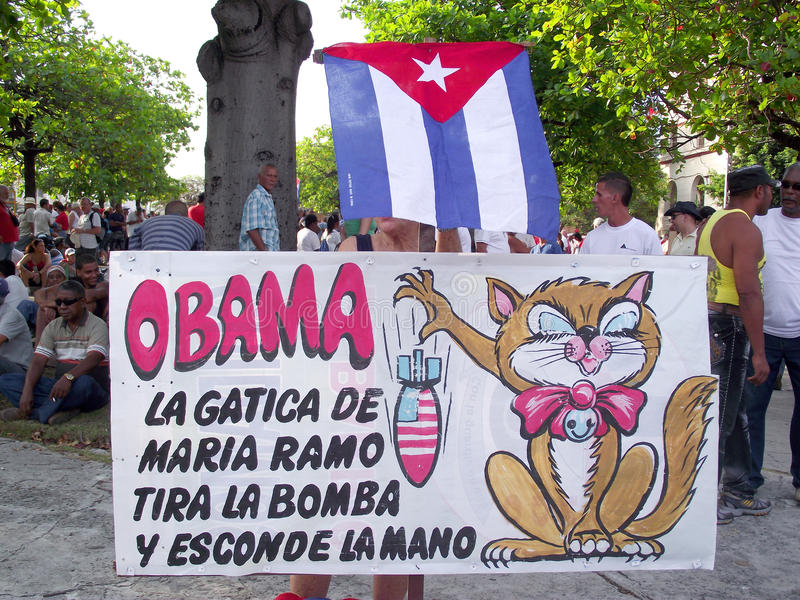 Affiche cubaine politique contre la marche de jour d'Obama en mai photo libre de droits