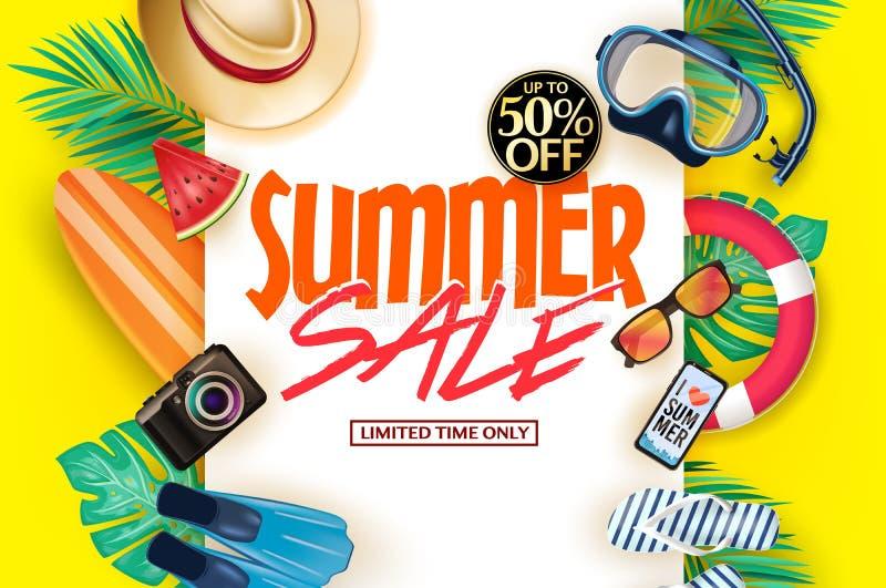 Affiche décorative d'été sur le fond jaune avec jusqu'à 50% pour le message de temps limité seulement, masque, prise d'air, ailer illustration de vecteur
