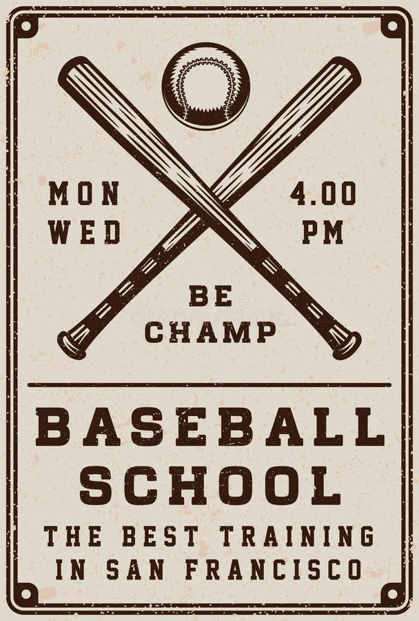 Affiche d'école de base-ball de vintage, calibre, bannière dans le rétro style illustration stock