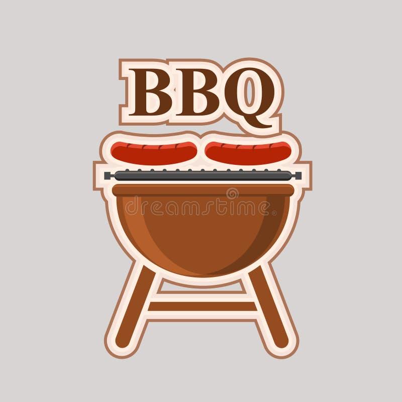 Affiche d'élément de vecteur de partie de barbecue illustration stock
