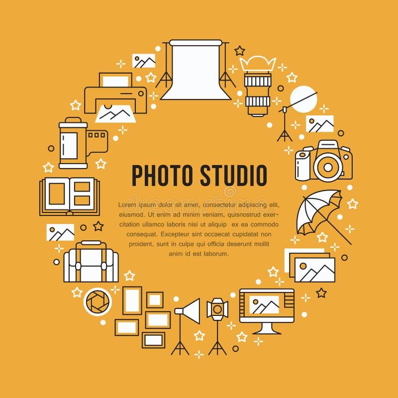 Affiche d'équipement de photographie avec la ligne plate icônes Appareil photo numérique, photos, éclairage, caméras vidéo, acces illustration libre de droits