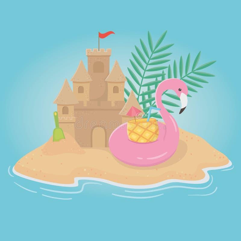Affiche d'été avec le flotteur flamand dans le paysage marin illustration libre de droits