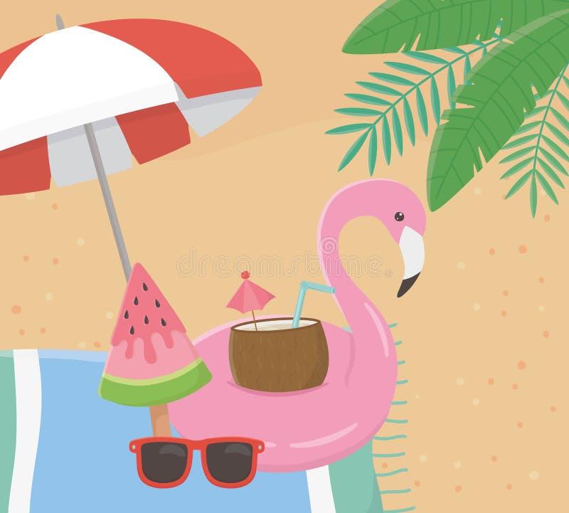 Affiche d'été avec le flotteur flamand dans le paysage marin illustration stock