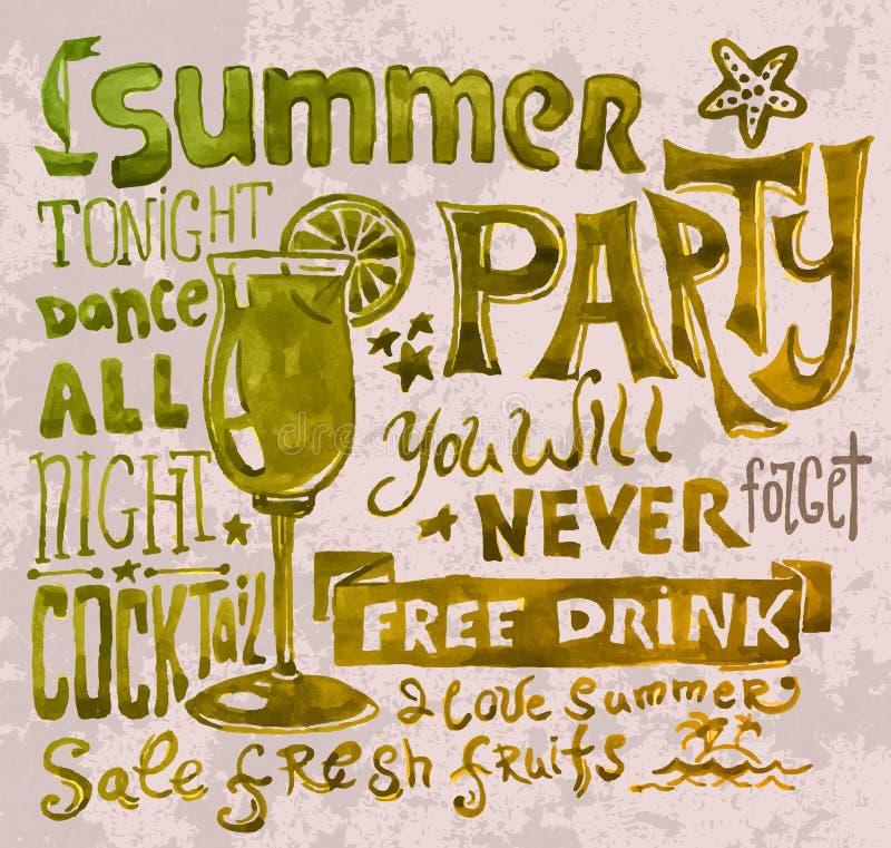 Affiche d'été Fond de typographie illustration libre de droits