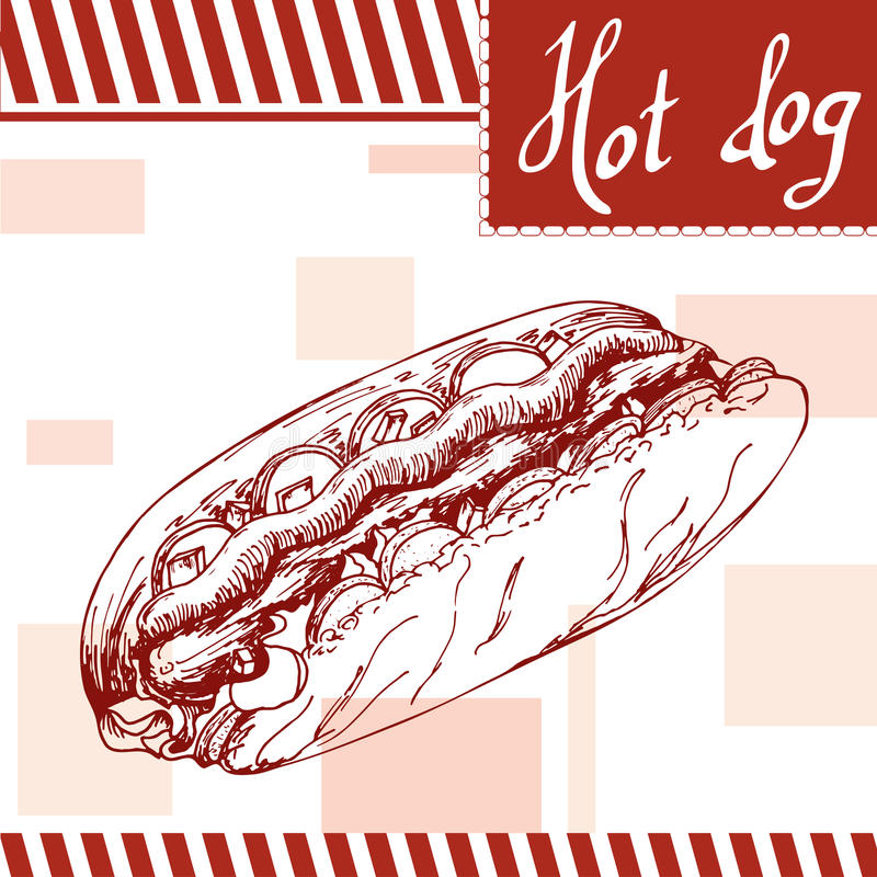 Affiche d'aliments de préparation rapide avec le hot-dog Illustration d'aspiration de main rétro Conception d'hamburger de vintag illustration de vecteur