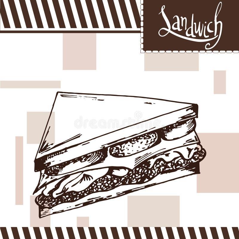 Affiche d'aliments de préparation rapide avec le sandwich Illustration d'aspiration de main rétro illustration stock