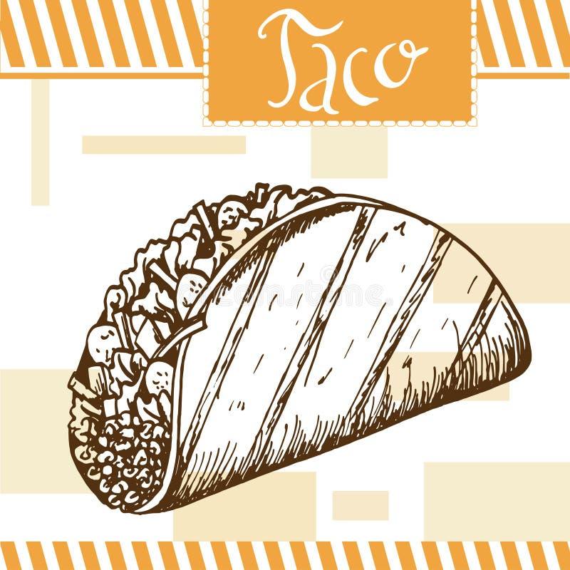 Affiche d'aliments de préparation rapide avec le taco Illustration d'aspiration de main rétro illustration stock