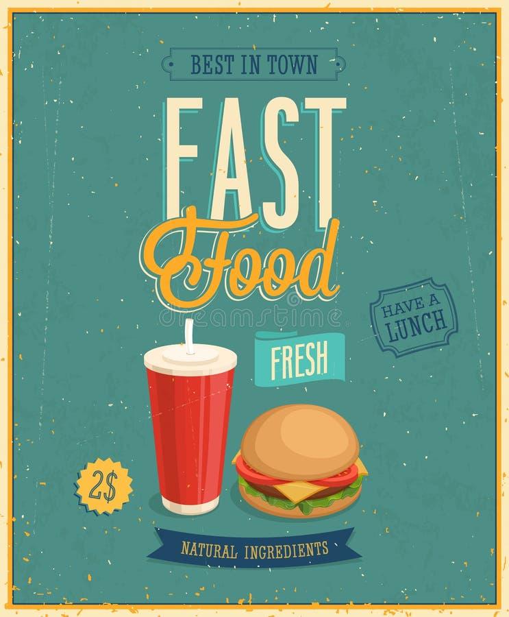 Affiche d'aliments de préparation rapide de vintage. Illustration de vecteur. illustration stock