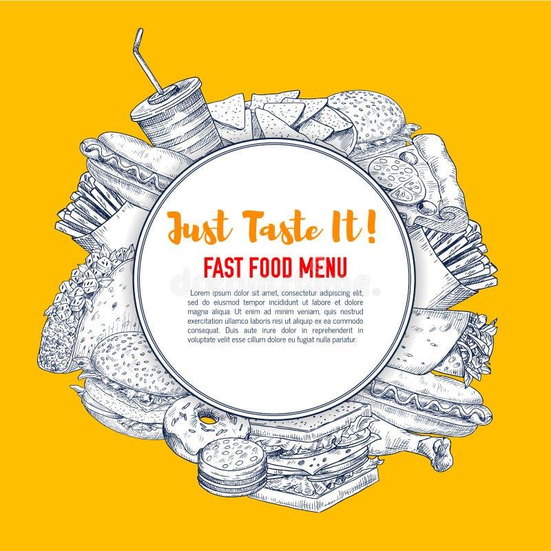 Affiche d'aliments de préparation rapide de prêt-à-manger de croquis de vecteur illustration de vecteur
