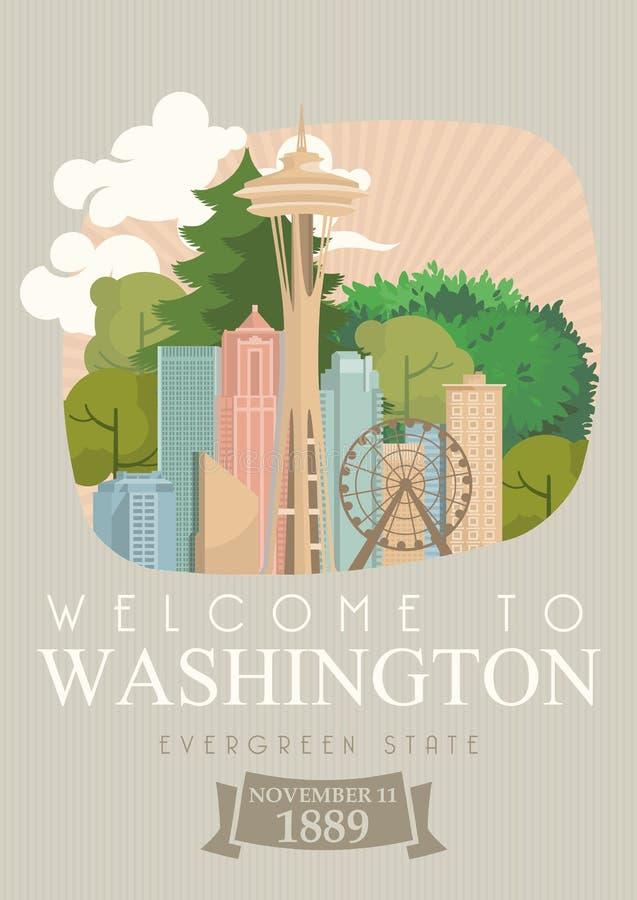 Affiche d'Américain de vecteur de Washington Illustration de voyage des Etats-Unis Carte des Etats-Unis d'Amérique ACCUEIL VERS W illustration de vecteur