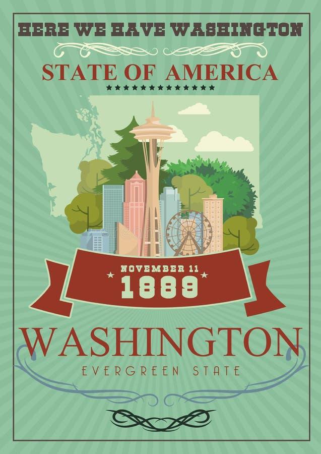 Affiche d'Américain de vecteur de Washington Illustration de voyage des Etats-Unis Carte des Etats-Unis d'Amérique Style léger illustration de vecteur