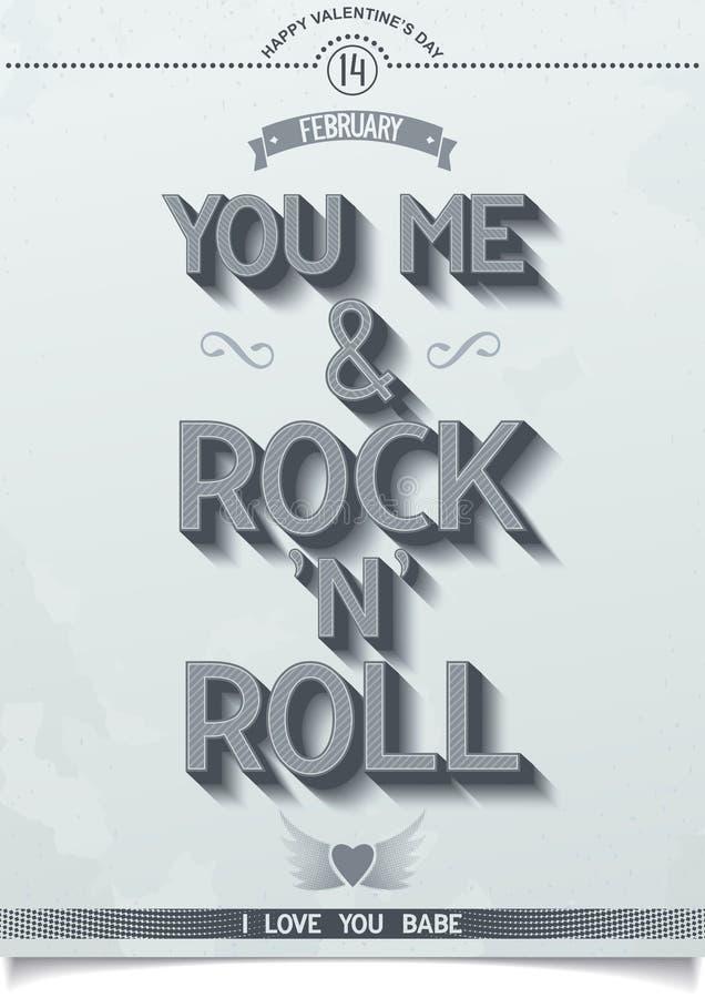 Affiche d'amour de roche pour le jour de valentines. illustration de vecteur