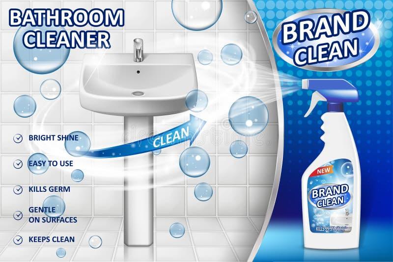Affiche d'annonce de décapants de salle de bains, maquette de bouteille de jet avec le détergent liquide pour l'évier de salle de illustration stock