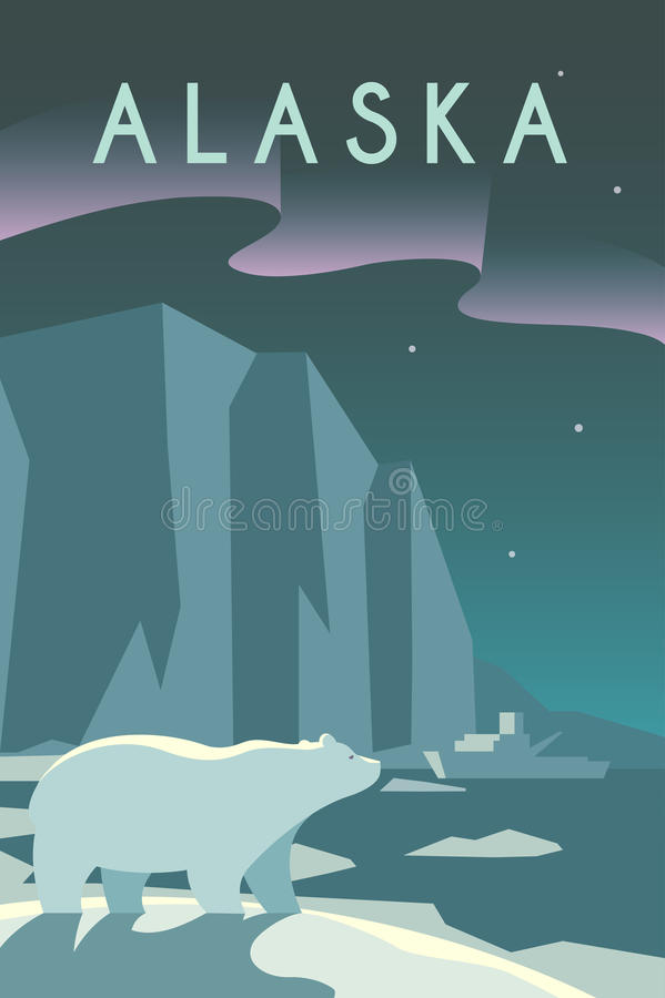 affiche d 39 art deco l 39 alaska illustration de vecteur illustration du pacifique ext rieur 69057181. Black Bedroom Furniture Sets. Home Design Ideas