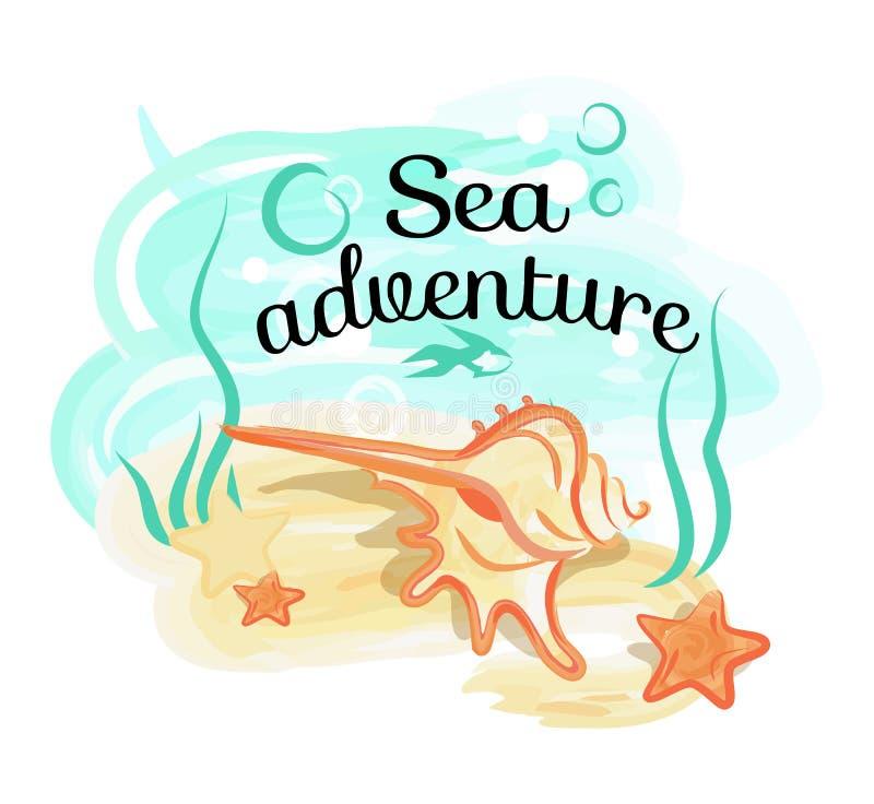 Affiche d'aventure de mer avec Shell Lies dans l'océan profond illustration stock
