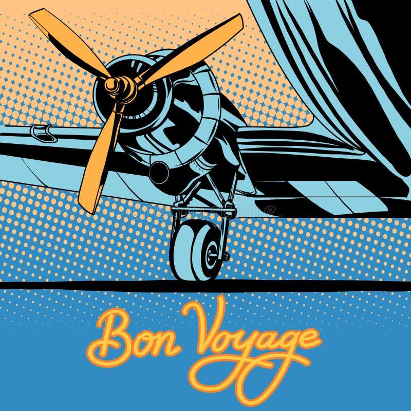 Affiche d'avion de voyage de voyage de fève rétro illustration libre de droits