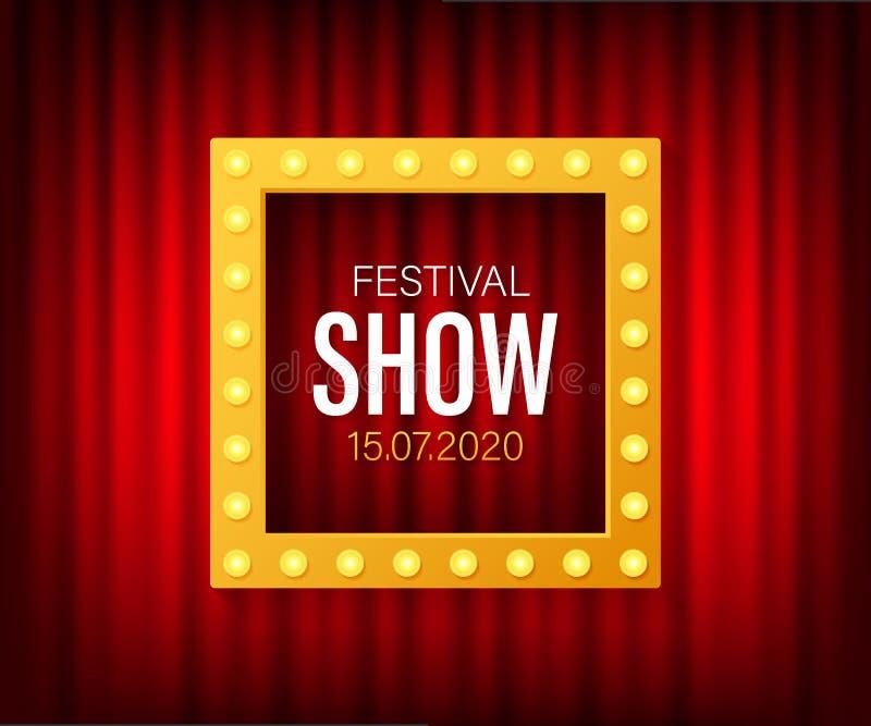 Affiche d'exposition de festival avec le projecteur Concert, partie, th??tre, cin?ma Illustration de vecteur illustration de vecteur
