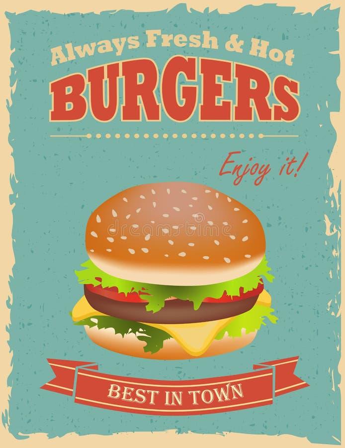 Affiche d'hamburgers de vintage illustration de vecteur