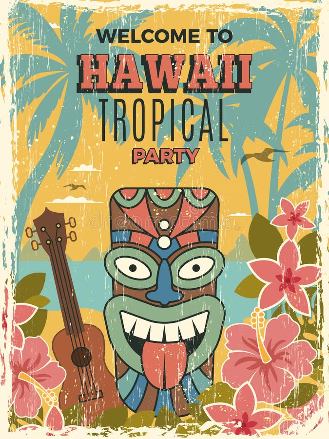 Affiche d'Hawa? Illustrations tribales de vecteur de masques d'Africain de tiki d'invitation de soirée dansante d'été illustration libre de droits