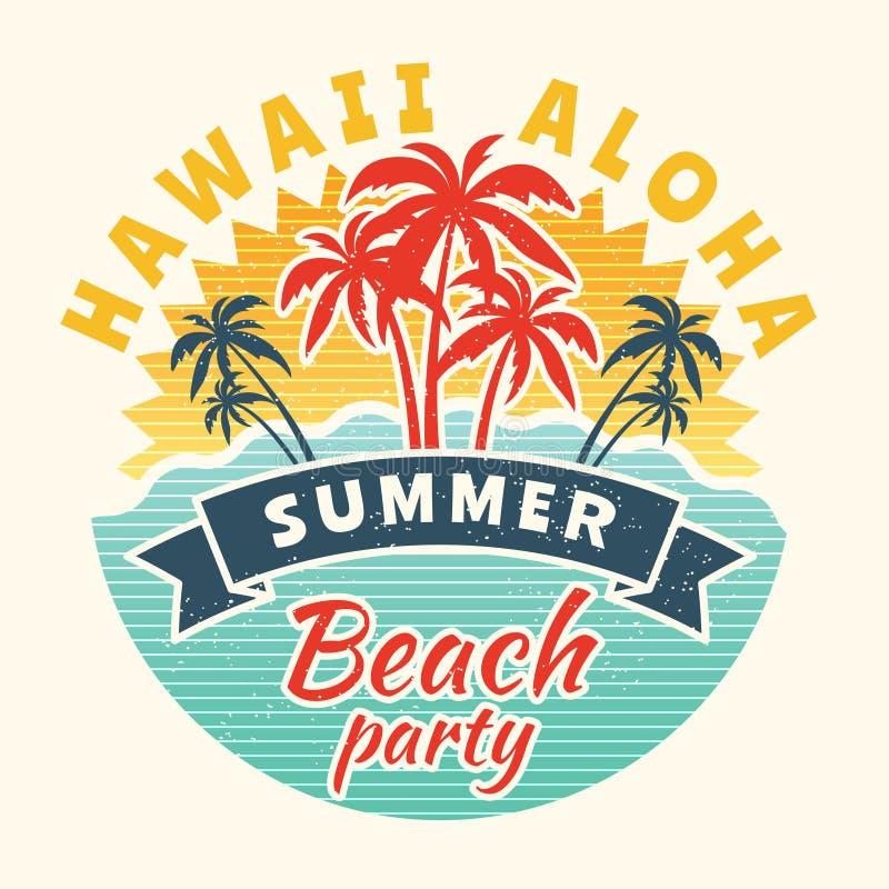 Affiche d'heure d'été Plaquette de vintage avec l'illustration tropicale illustration stock
