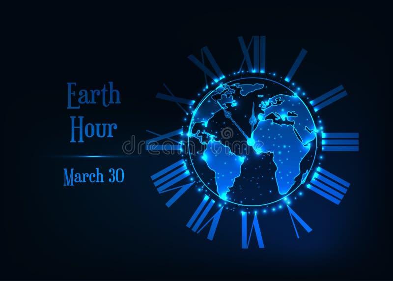 Affiche d'heure de la terre avec le bas globe polygonal rougeoyant de planète de la terre, l'horloge romaine et le texte sur bleu illustration stock