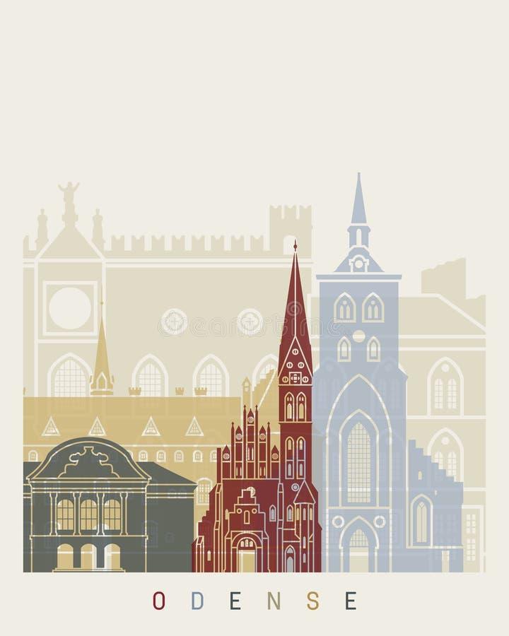 Affiche d'horizon d'Odense illustration stock