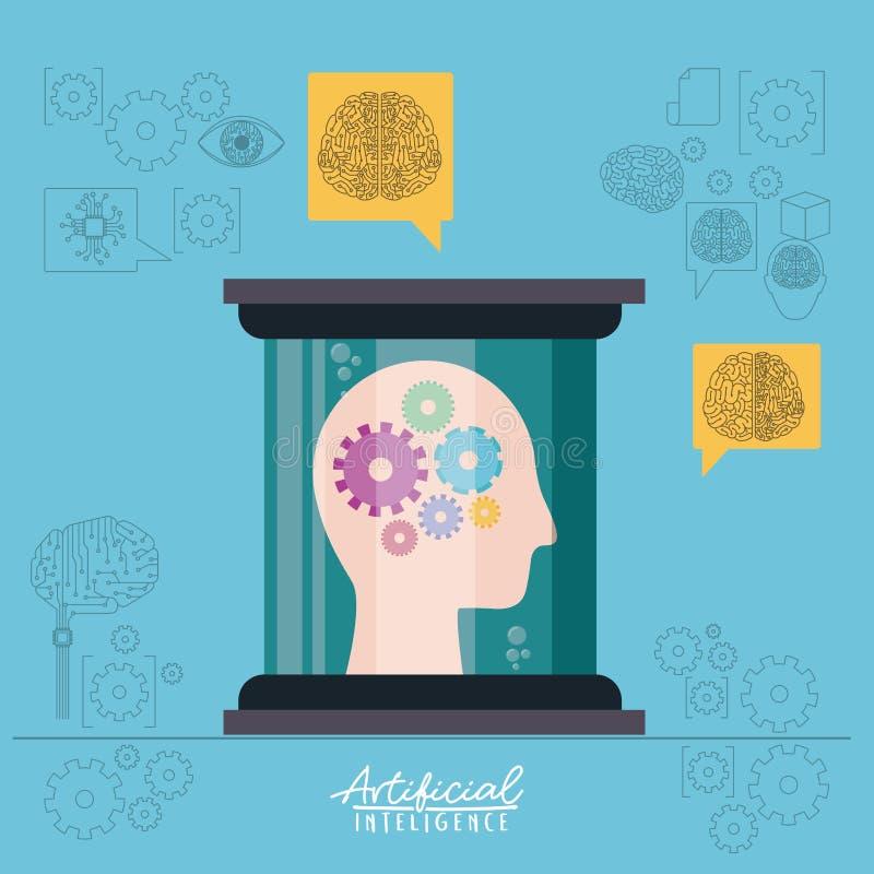 Affiche d'intelligence artificielle avec la silhouette de tête humaine avec des pignons dans la vue de côté dans le récipient tra illustration de vecteur