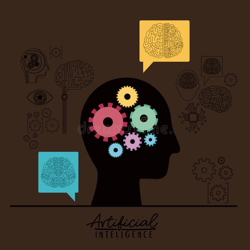 Affiche d'intelligence artificielle avec la vue de côté de silhouette de tête humaine avec des pignons à l'intérieur à l'arrière- illustration stock