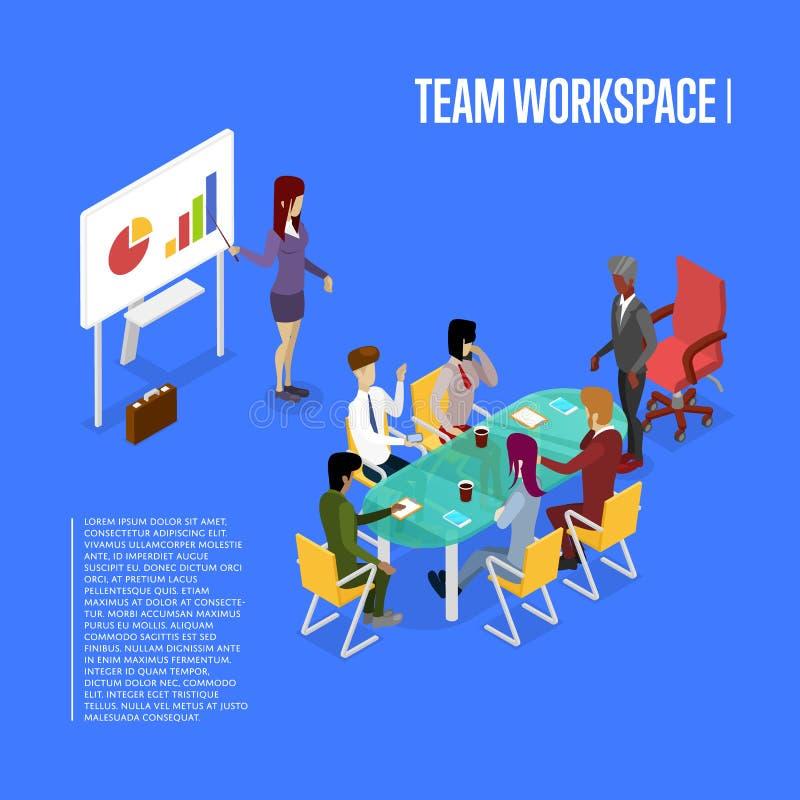 Affiche 3D isométrique d'espace de travail de bureau de conférence illustration libre de droits