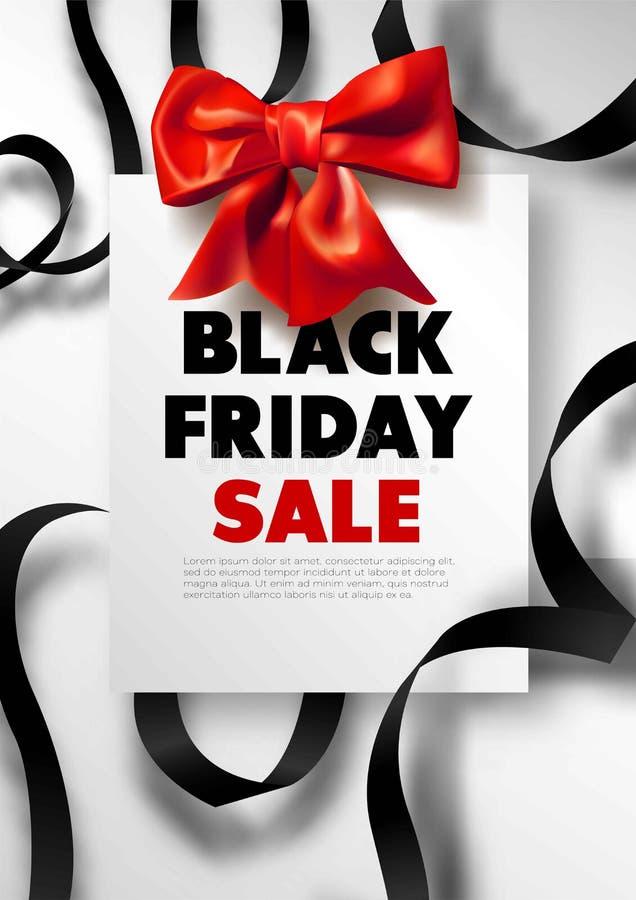 Affiche d'offre de promo de remise de vente de Black Friday ou insecte et bon de publicité illustration de vecteur
