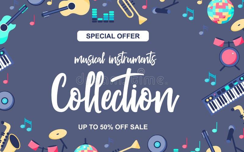 Affiche d'offre spéciale avec des instruments de musique sur le fond bleu gris Collection musicale d'intstuments avec illustration libre de droits