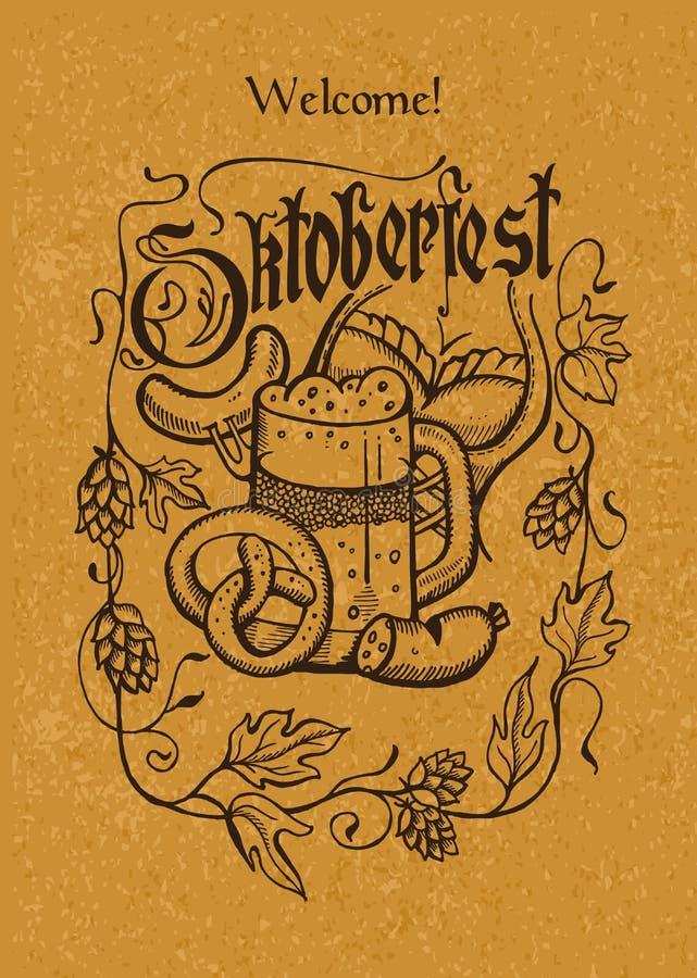 Affiche d'Oktoberfest A sur le papier d'emballage Tasse de bière, bretzel, houblon, d illustration de vecteur