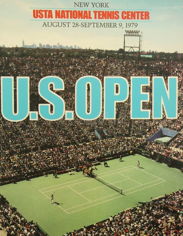 Affiche 1979 d'US Open sur l'affichage chez Billie Jean King National Tennis Center photos stock