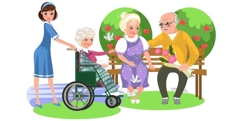 Affiche de bande dessinée d'infirmière et de vieille dame dans le fauteuil roulant illustration stock
