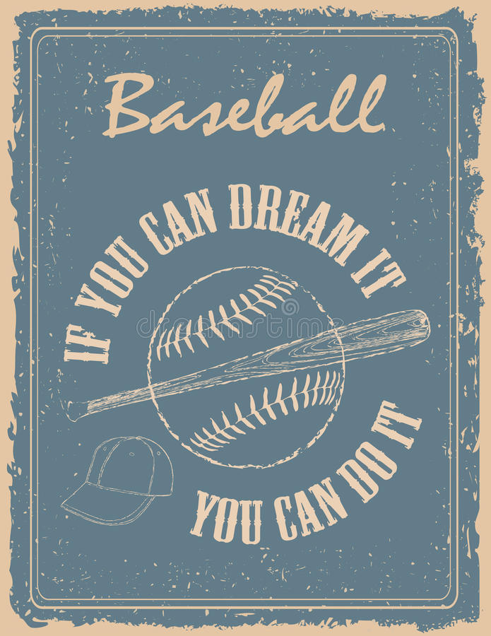 Affiche de base-ball de vintage illustration libre de droits