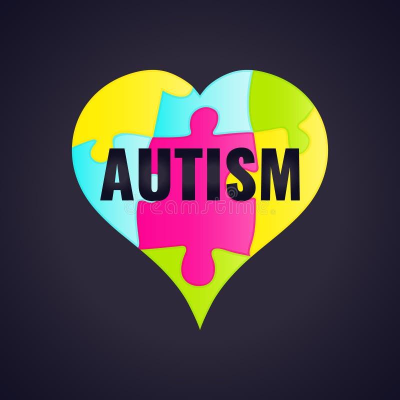Affiche de cadre de conscience d'autisme illustration libre de droits