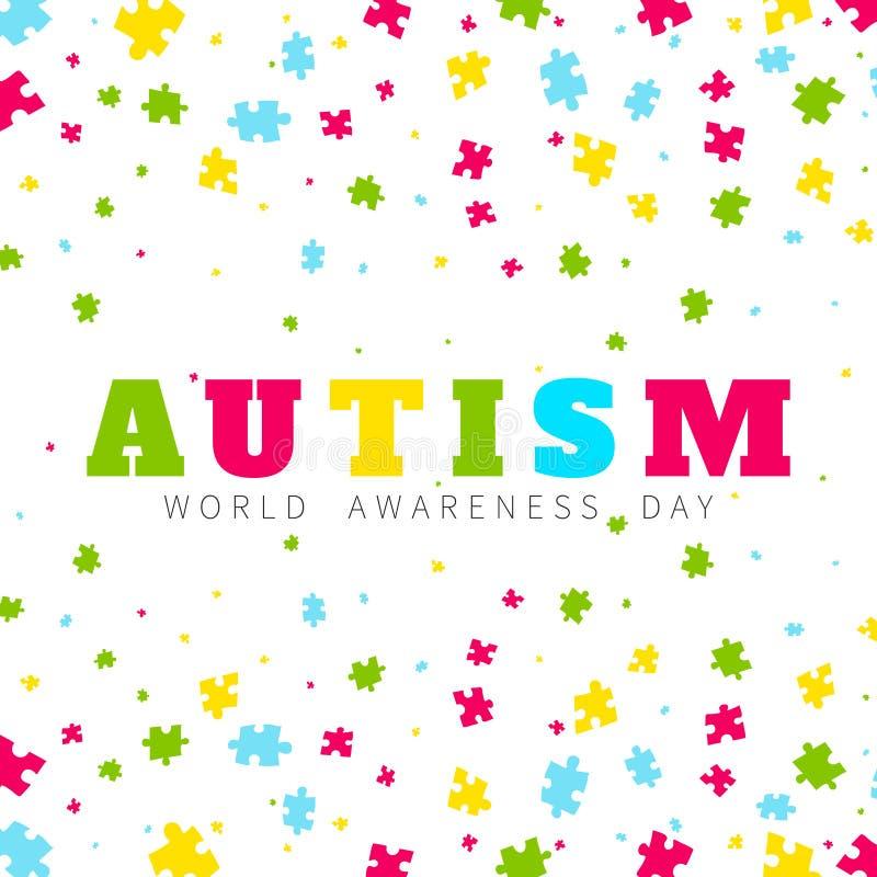 Affiche de cadre de conscience d'autisme illustration de vecteur