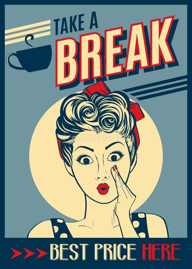 Affiche de café de la publicité rétro avec la femme d'art de bruit illustration stock