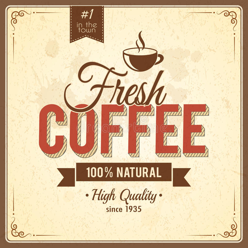 Affiche de café de vintage avec des effets grunges illustration libre de droits