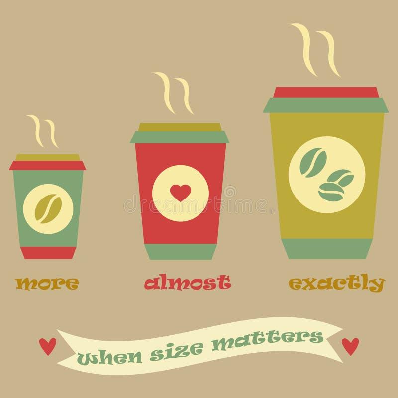 Affiche de café de vintage avec trois tasses et rubans illustration libre de droits