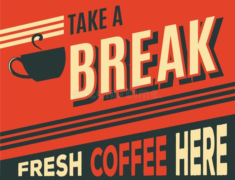 Affiche de café de la publicité rétro illustration stock