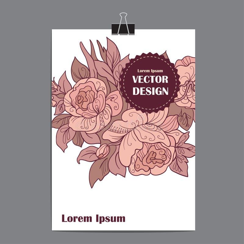 Affiche de calibre de vecteur avec le fond floral abstrait illustration libre de droits