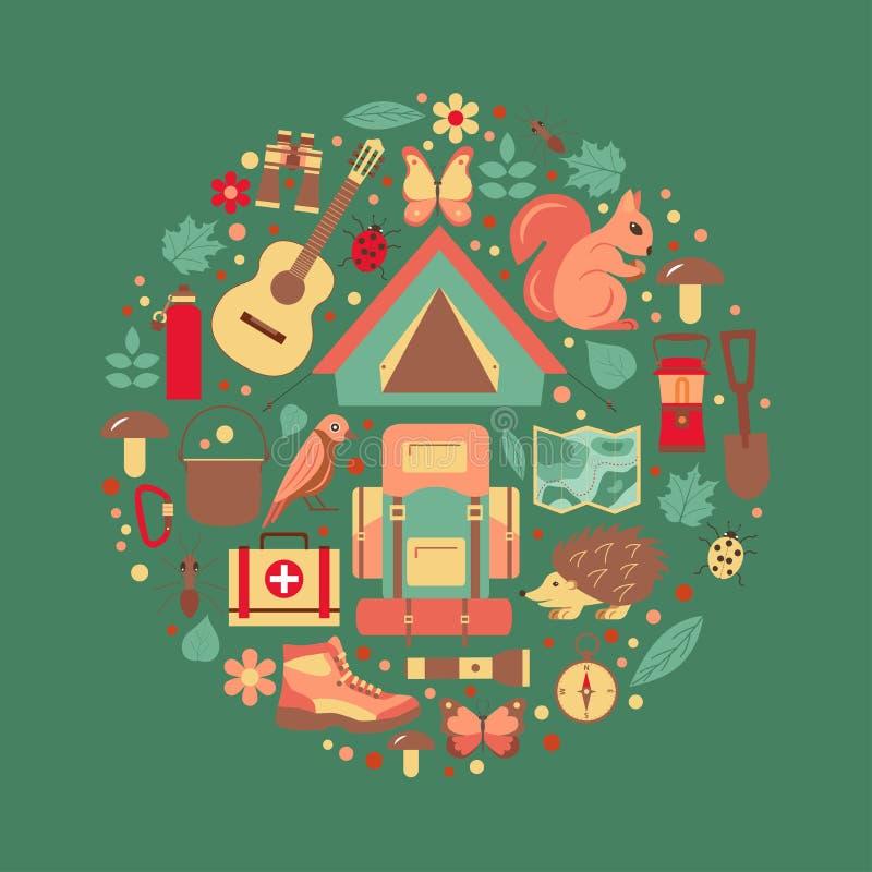 Affiche de camping d'éco-tourisme illustration libre de droits