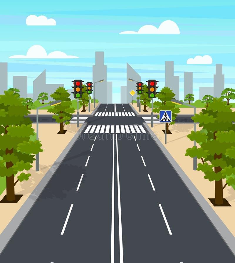 Affiche de carte de feux de signalisation de carrefour de ville de bande dessinée Vecteur illustration de vecteur