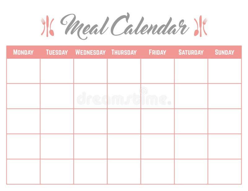 Affiche de carte de planificateur de calendrier de repas élégante et mignonne illustration stock