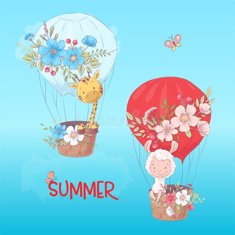 Affiche de carte postale d'un lama et d'une girafe mignons dans un ballon avec des fleurs dans le style de bande dessinée Retrait illustration libre de droits