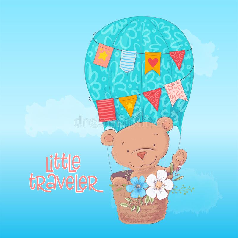 Affiche de carte postale d'un ours mignon dans un ballon avec des fleurs dans le style de bande dessinée Retrait de main illustration stock
