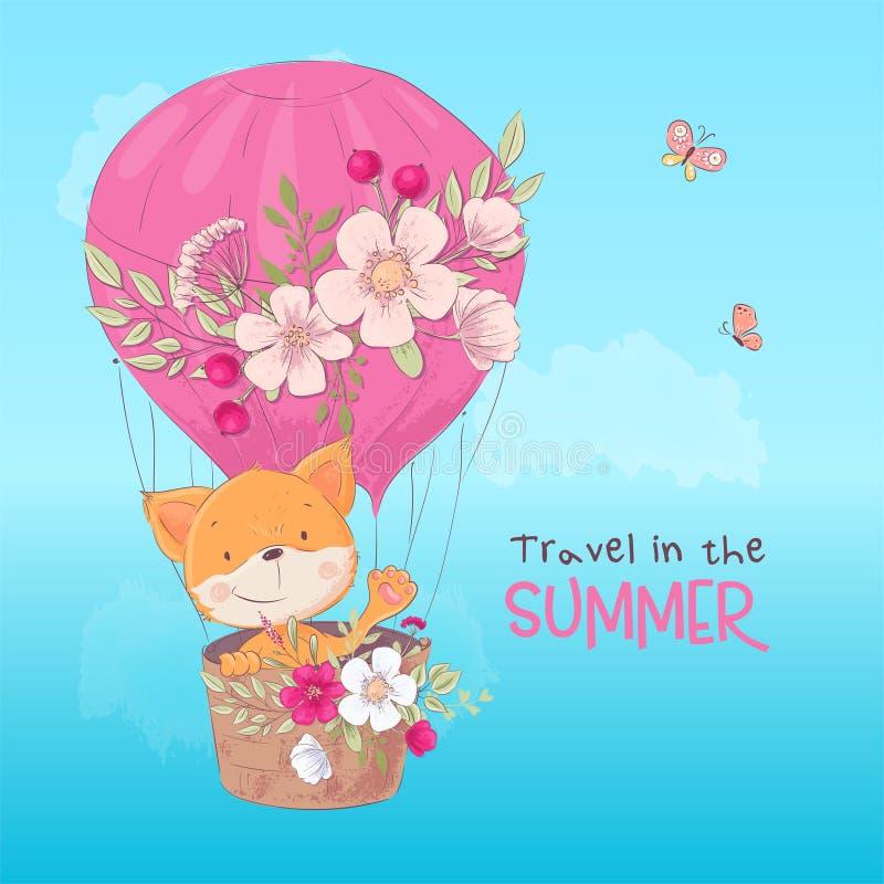 Affiche de carte postale d'un renard mignon dans un ballon avec des fleurs dans le style de bande dessinée Retrait de main illustration libre de droits