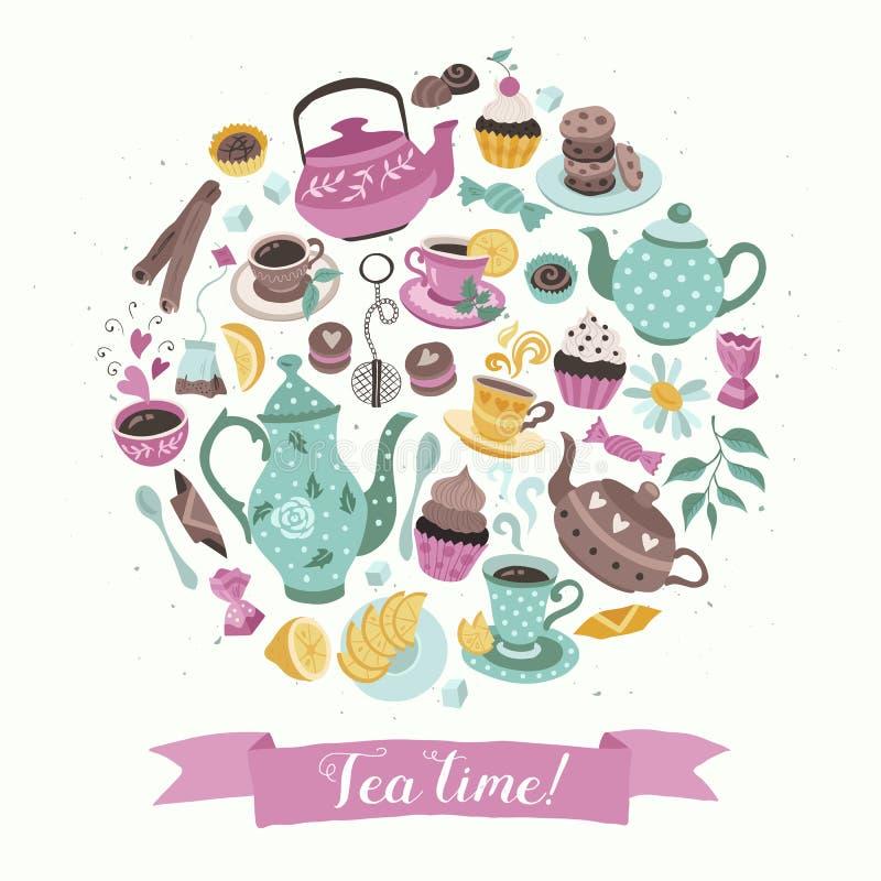 Affiche de cercle de thé illustration stock